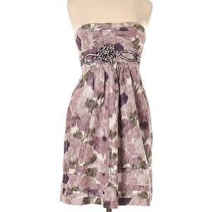 BCBGMAXAZRIA Purple Printed Strapless Dress